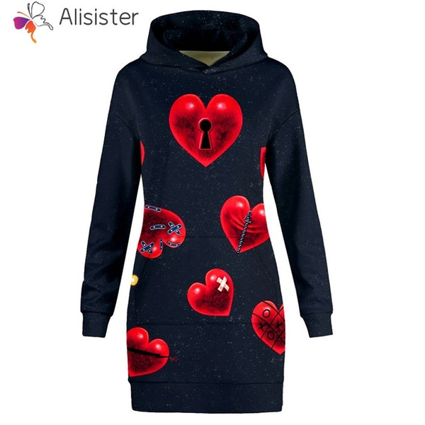 Key to my Heart Hoodie Sweatshirt Dress Women - EDM Clothing Company