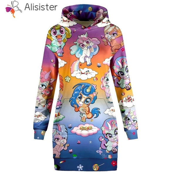 Unicorn Cuties over Sunset Colors Hoodie Sweatshirt Dress Women - EDM Clothing Company