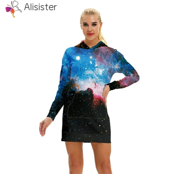 Galaxy Sweatshirt Dress Women - EDM Clothing Company