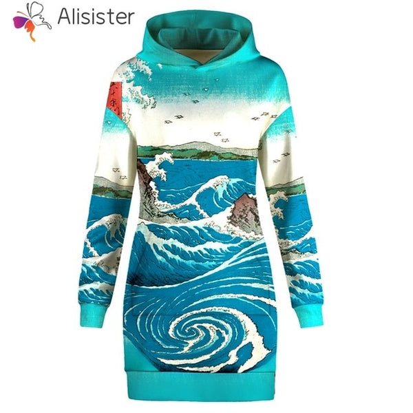 Blue Wave Sweatshirt Dress Women - EDM Clothing Company