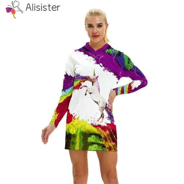 Unicorn Rainbow Hoodie Sweatshirt Dress Women - EDM Clothing Company