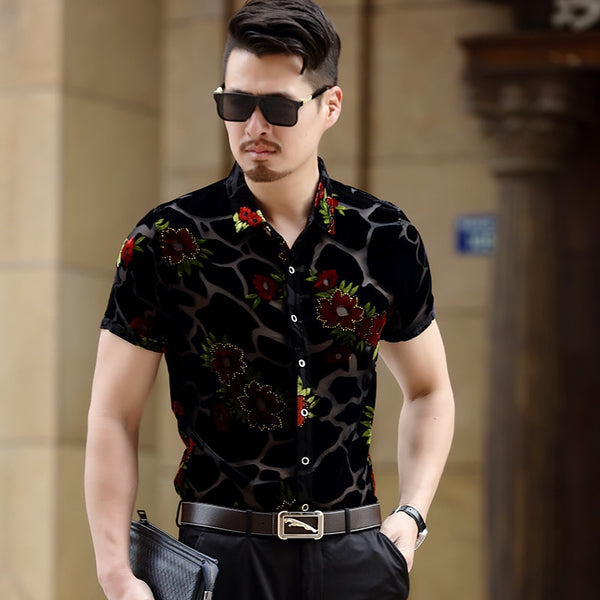 Velvet Mesh Floral Button Up - EDM Clothing Company