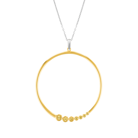 Scaled Diamond Hoop Pendant