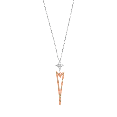 Sleek Triangle Rose Gold Diamond Pendant