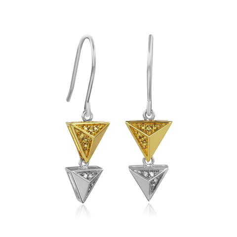 Geometric Triangle Citris Earring