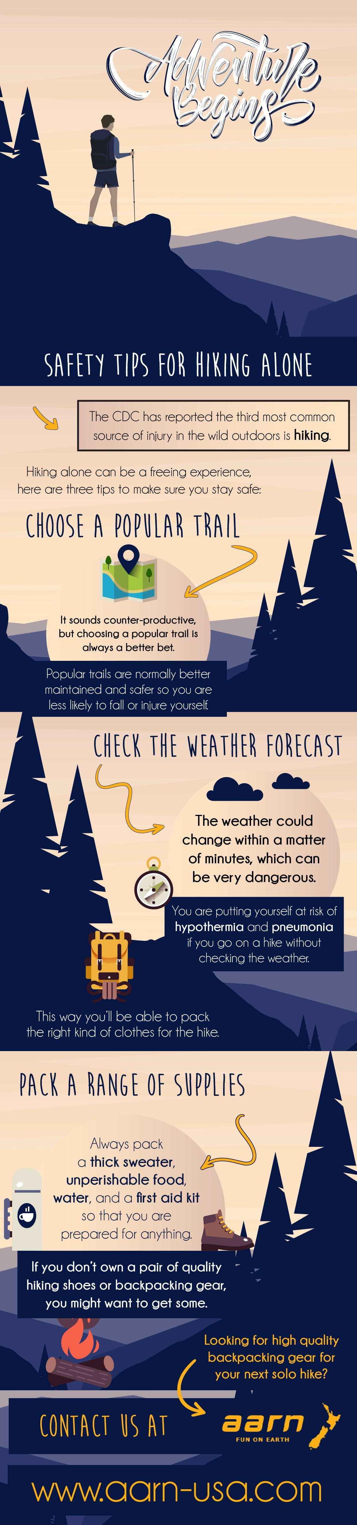 Safety Tips For Hiking Alone | Infographic