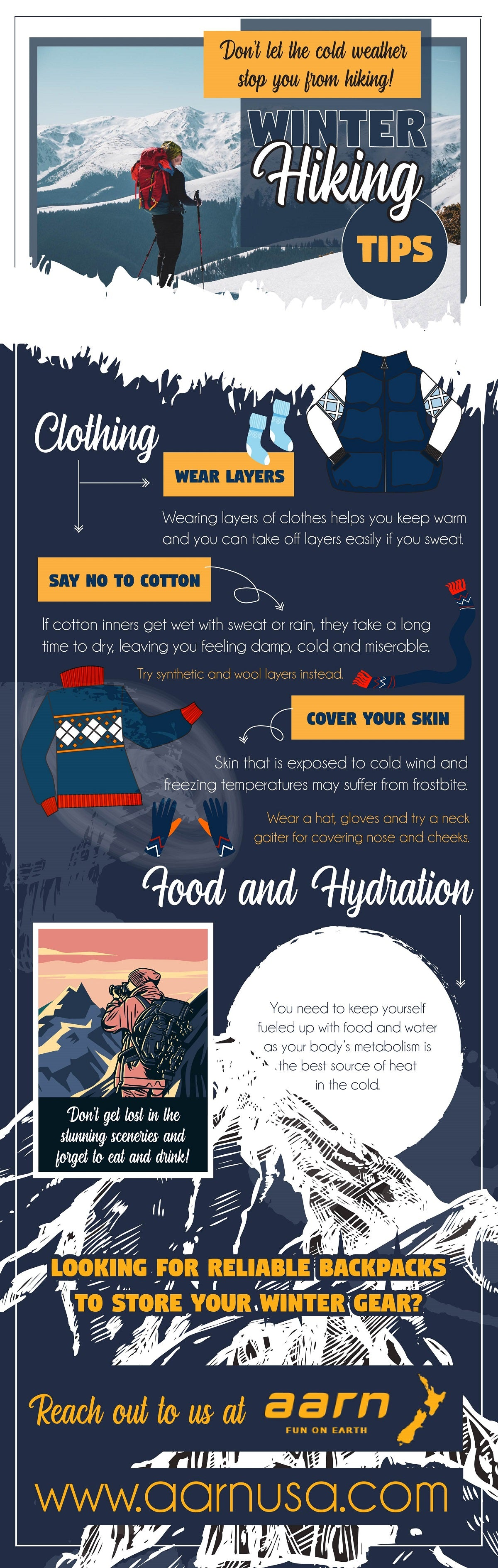 Don't let the cold weather stop you from Hiking - Infographic