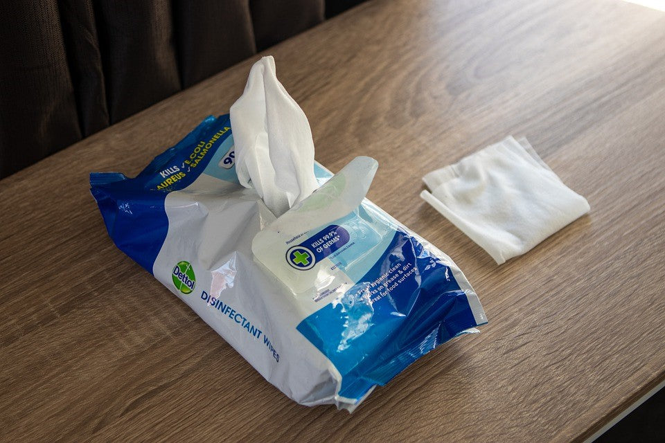 A packet of quality disinfecting wipes in a compact packaging