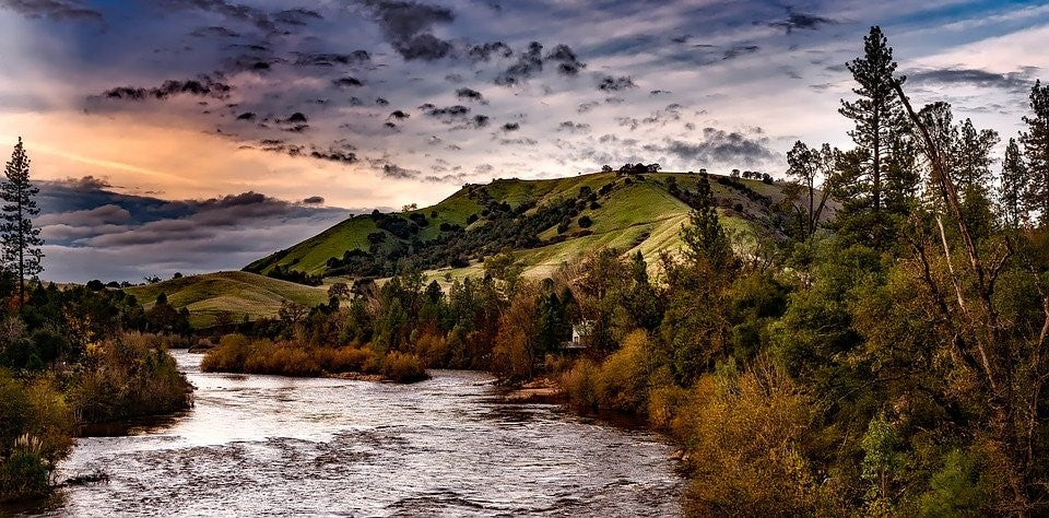 A river and hills in California