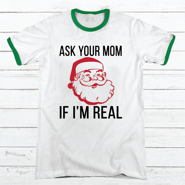 Ask Your Mom Premium Christmas Ringer Tee
