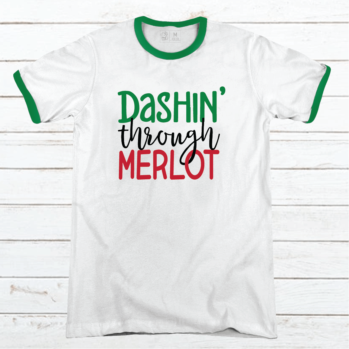 DASHIN THROUGH MERLOT Premium Christmas Ringer Tee