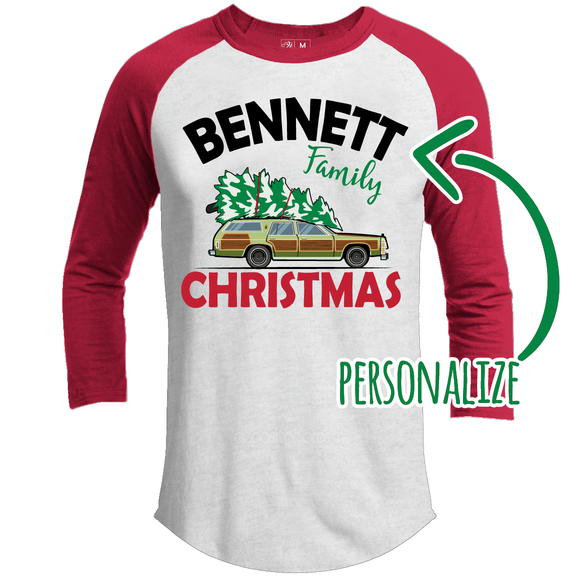 Family Christmas Personalized Premium Christmas Raglan