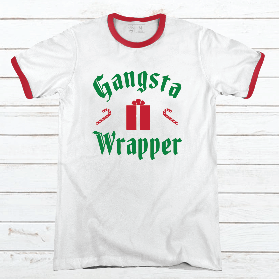 Gangsta Wrapper Premium Christmas Ringer Tee