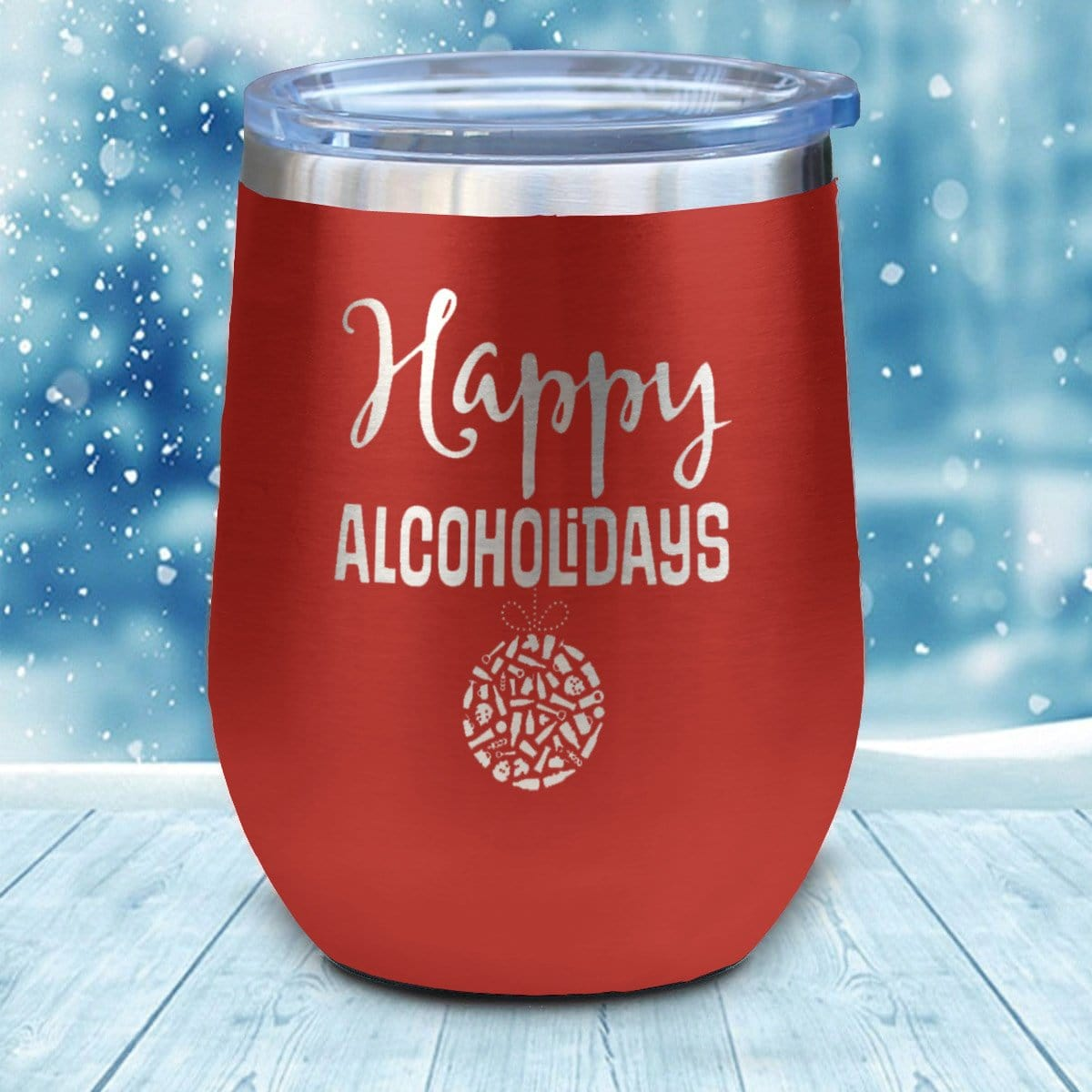 Happy Alcoholidays Christmas Wine Glass