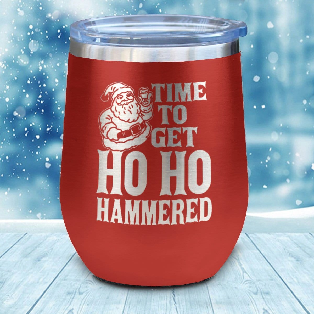HO HO Hammered Christmas Wine Glass