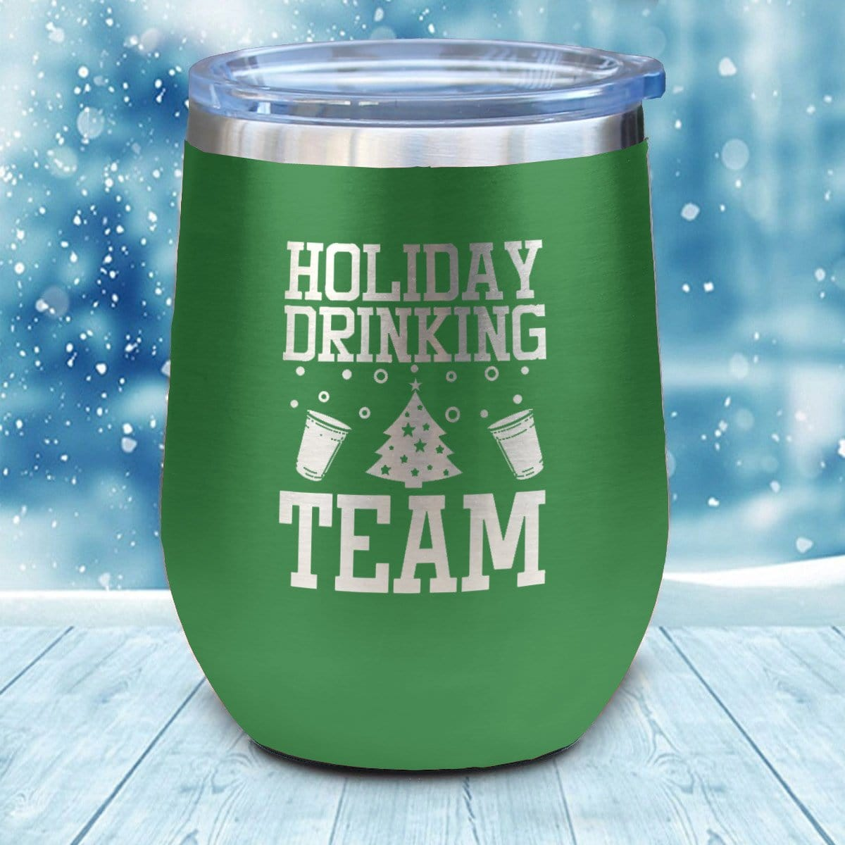 Holiday Drinking Team Christmas Wine Glass