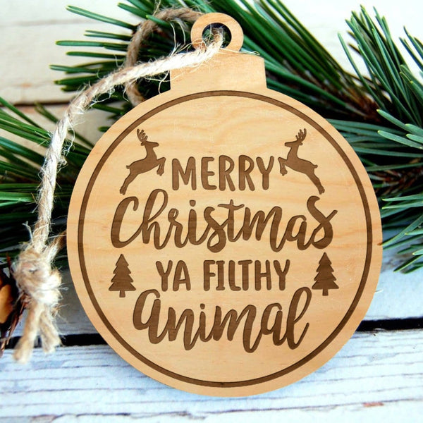 Filthy Animal Laser Engraved Wooden Christmas Ornament