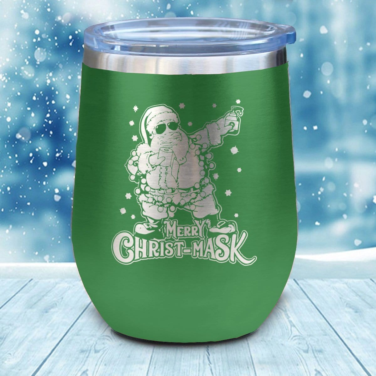 Merry Christ-Mask Christmas Wine Glass
