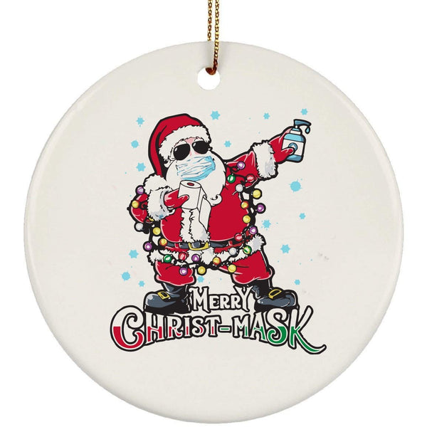 Merry Christ-Mask Christmas Ceramic Circle Ornament
