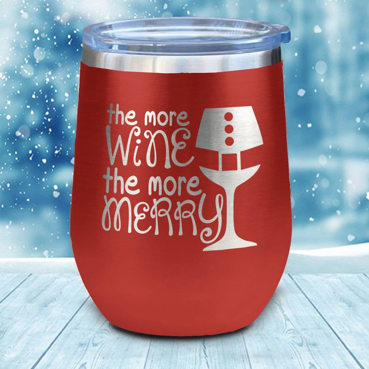 More Wine The More Merry Christmas Wine Glass