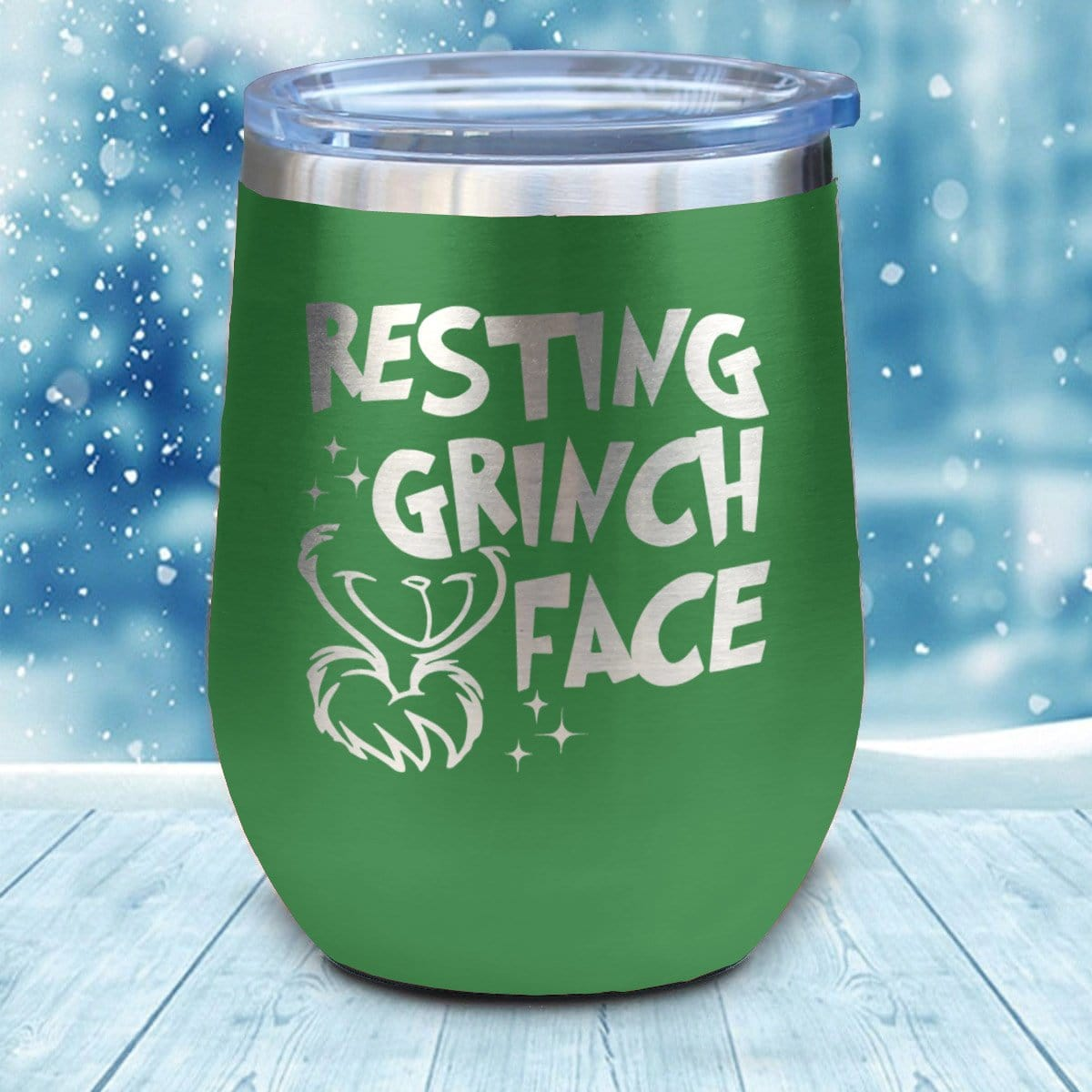 Resting Grinch Face Christmas Wine Glass