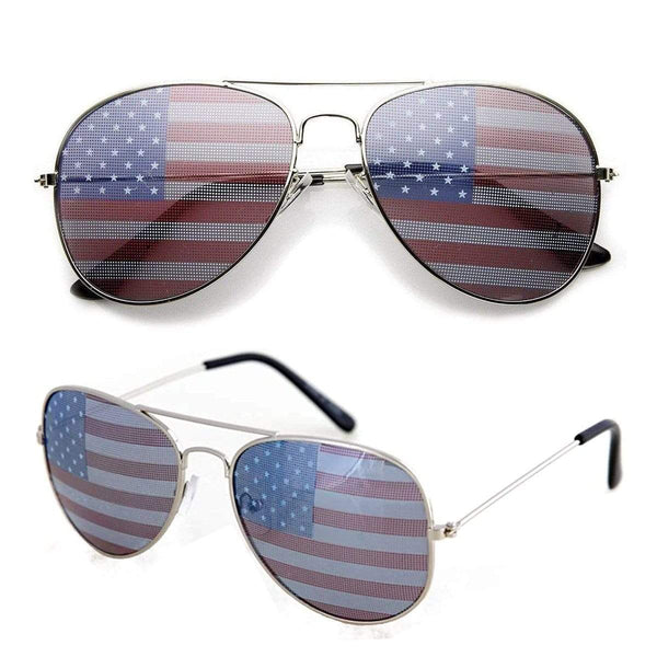 American Flag Aviator Sunglasses W/ Flag Pouch