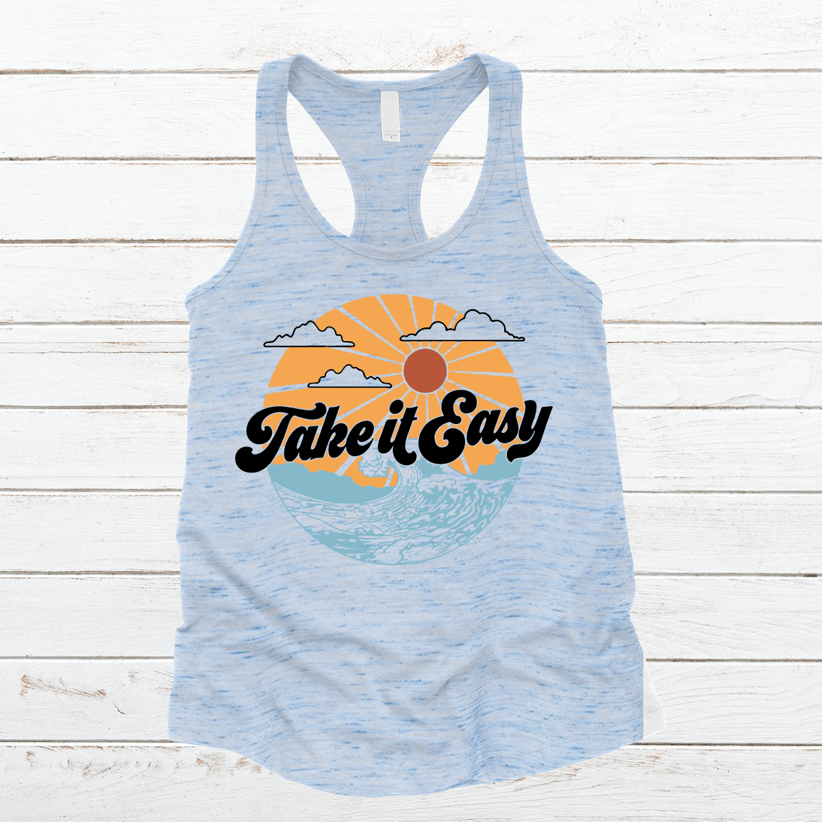 Take It Easy Premium Marble Racerback Tank