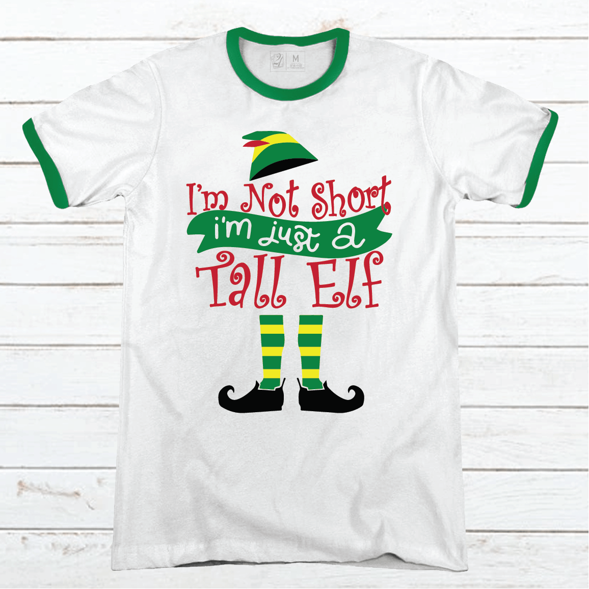 Tall Elf Premium Christmas Ringer Tee