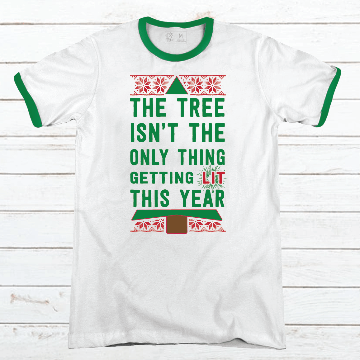 Getting Lit Premium Christmas Ringer Tee