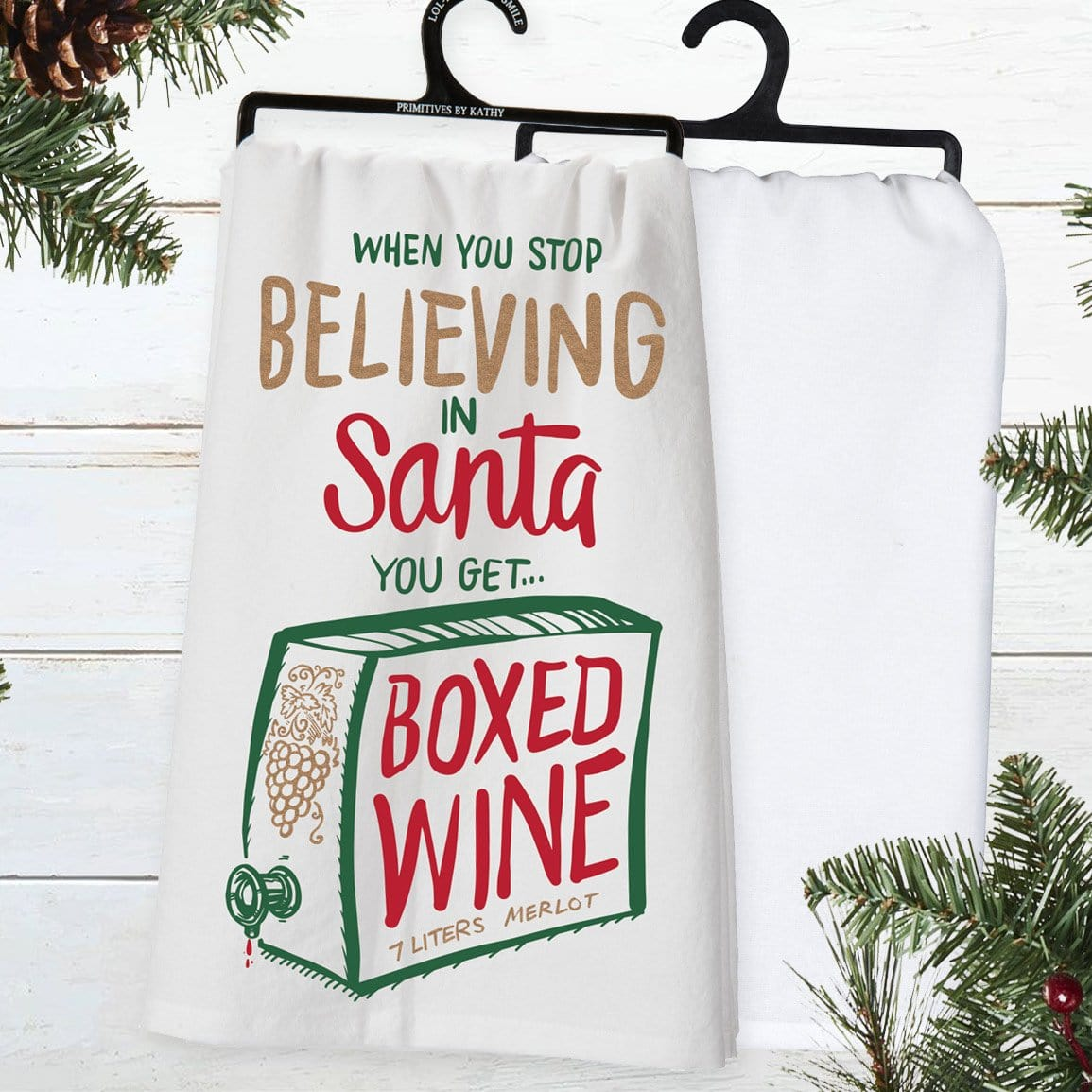 Boxed Wine Christmas Dish Towel