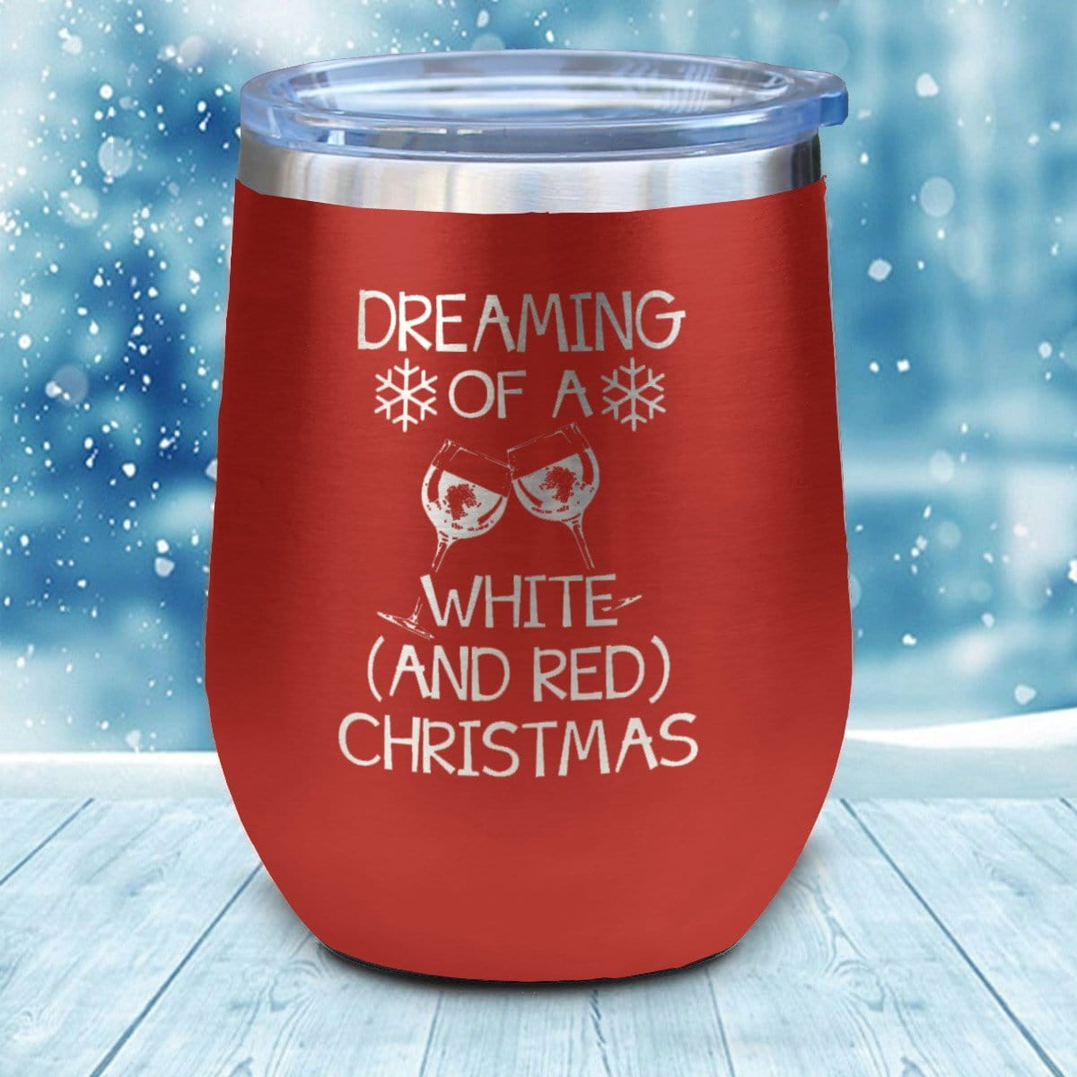 White And Red Christmas Christmas Wine Glass