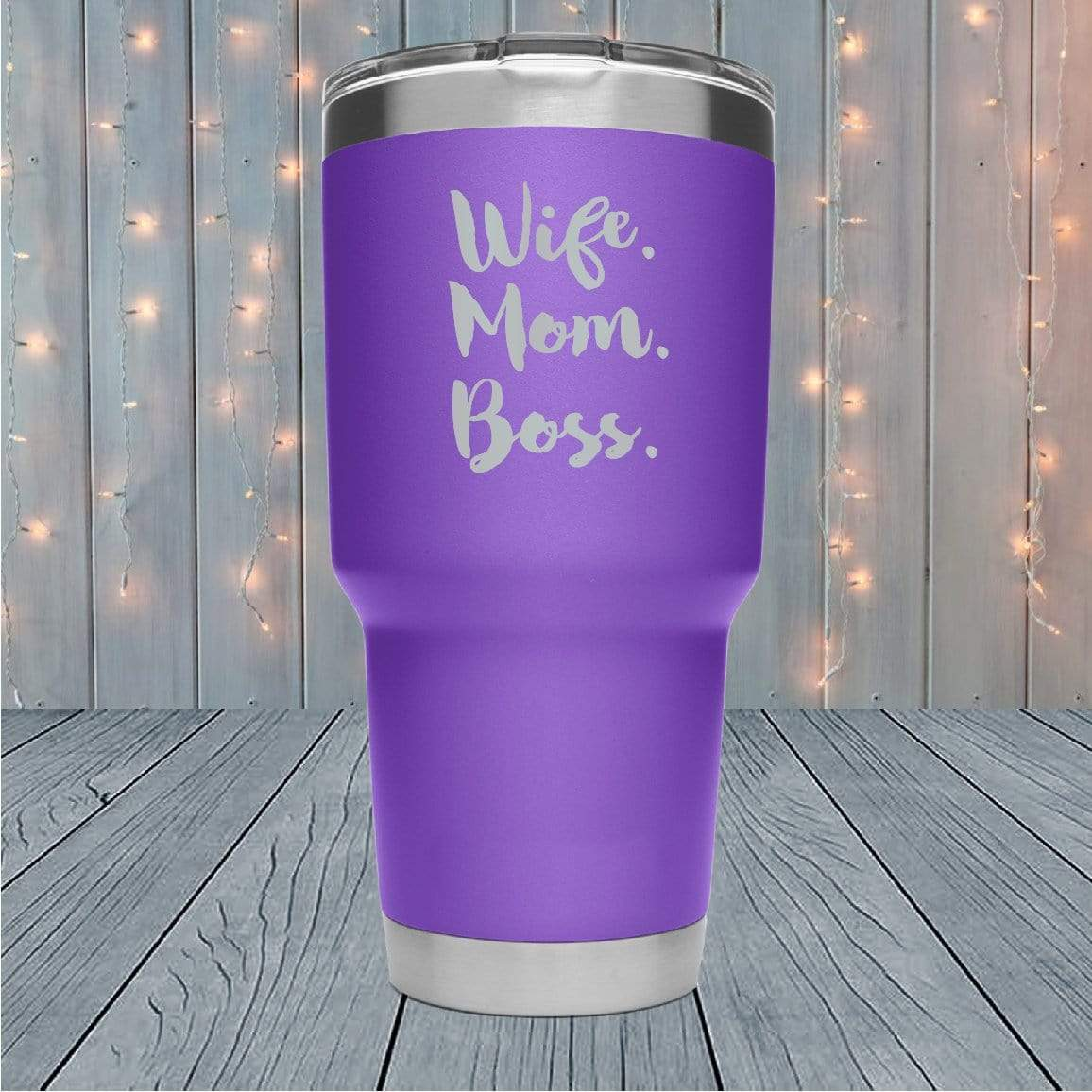Wife Mom Boss Stacked Laser Engraved Tumblers