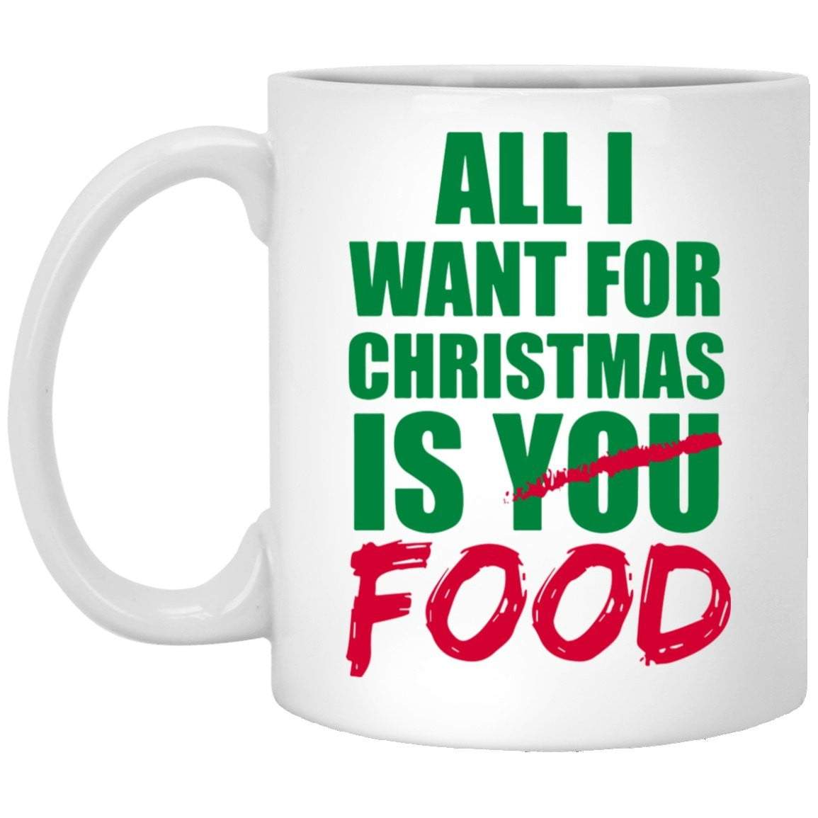 ALL I WANT FOOD Christmas Coffee Mug