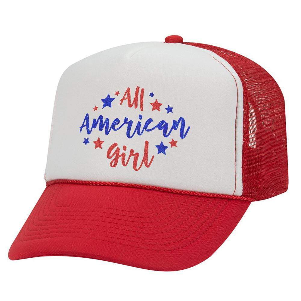 All American Girl Youth Trucker Hat (Glitter)