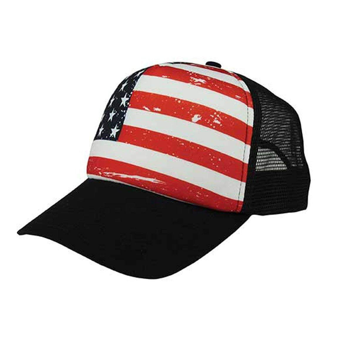 American Flag Navy Trucker Hat