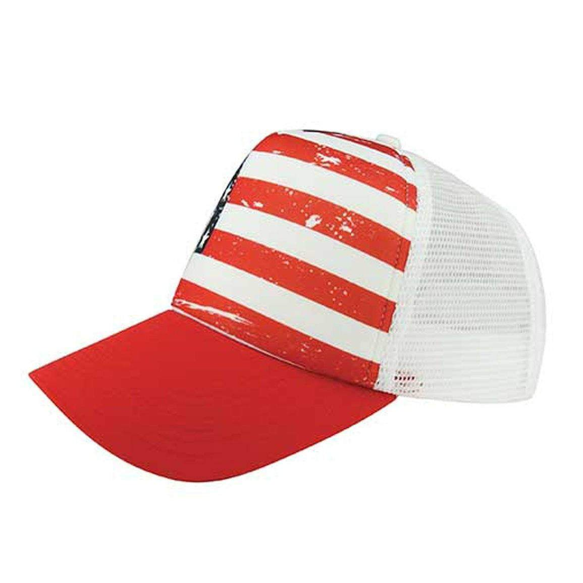 American Flag White Trucker Hat