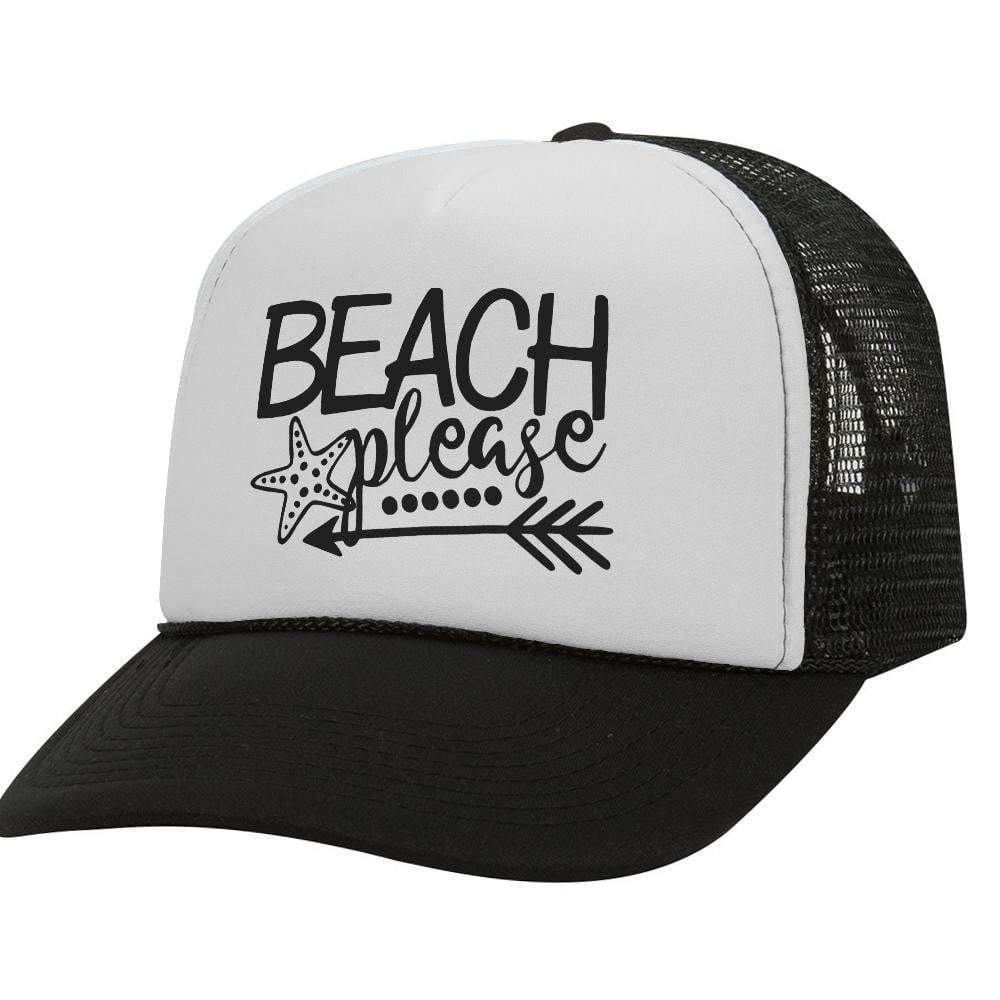 Beach Please BW Trucker Hat