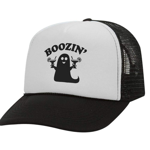 Boozin' Ghost BW Halloween Trucker Hat