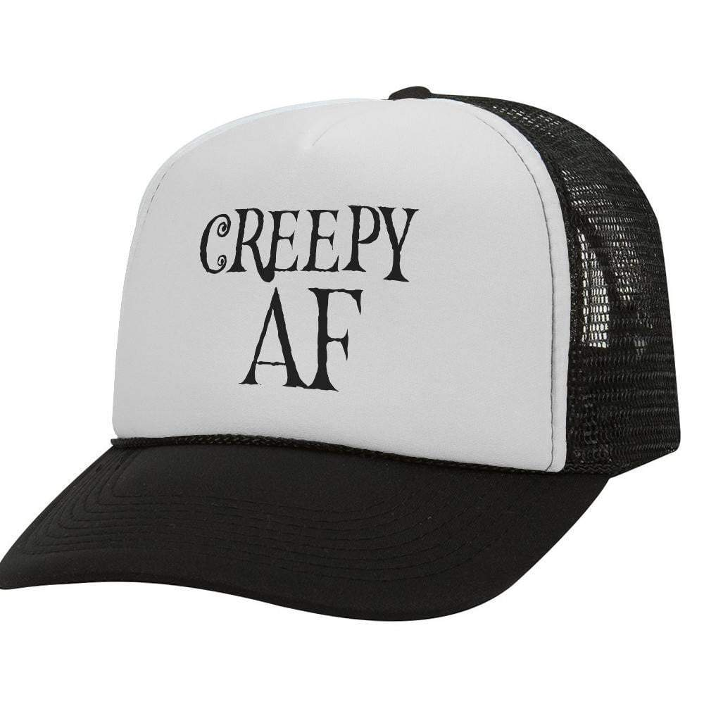 Creepy AF BW Halloween Trucker Hat