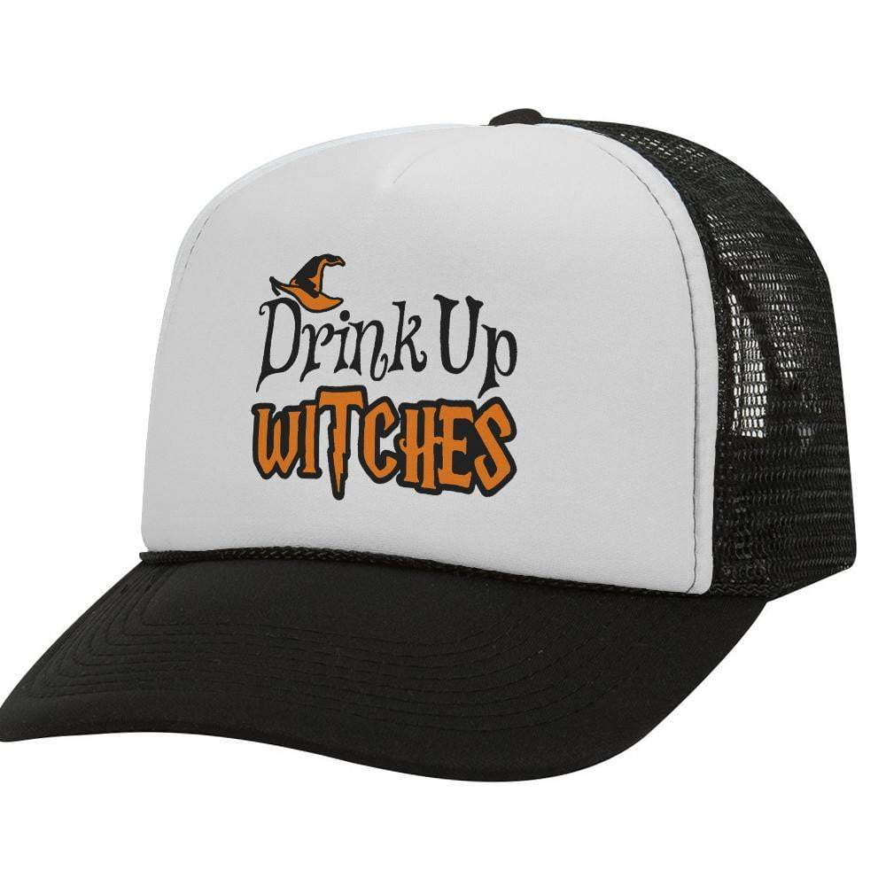 Drink Up Witches BW Halloween Trucker Hat