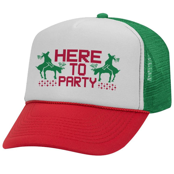 Here to Party Christmas Vinyl Trucker Hat