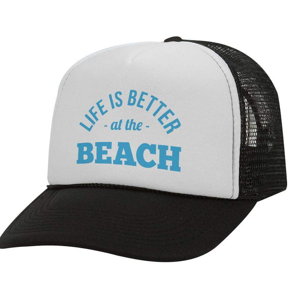 Life Is Better At The Beach BW Trucker Hat