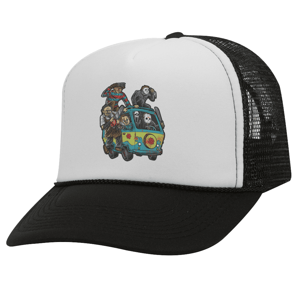 MASSACRE MACHINE BW Halloween Trucker Hat
