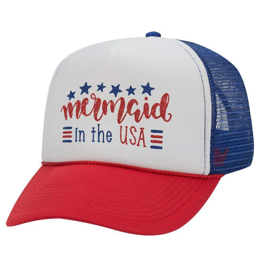 MERMAID IN USA TRUCKER HAT (Glitter)