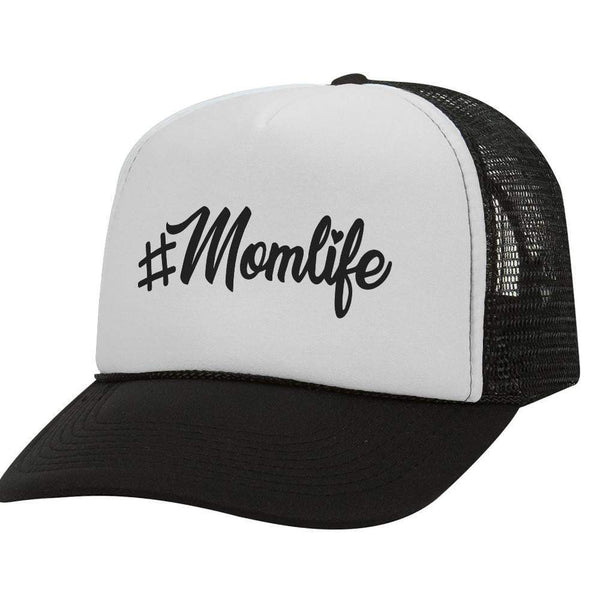 #Mom Life Script BW Trucker Hat