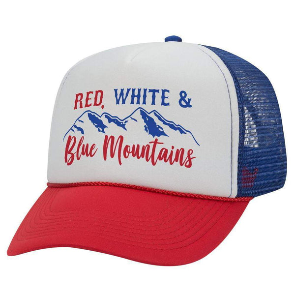 RED WHITE AND BLUE MOUNTAINS TRUCKER HAT