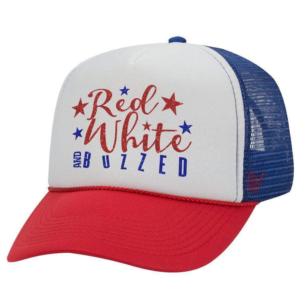 RED WHITE AND BUZZED STARS TRUCKER HAT (Glitter)