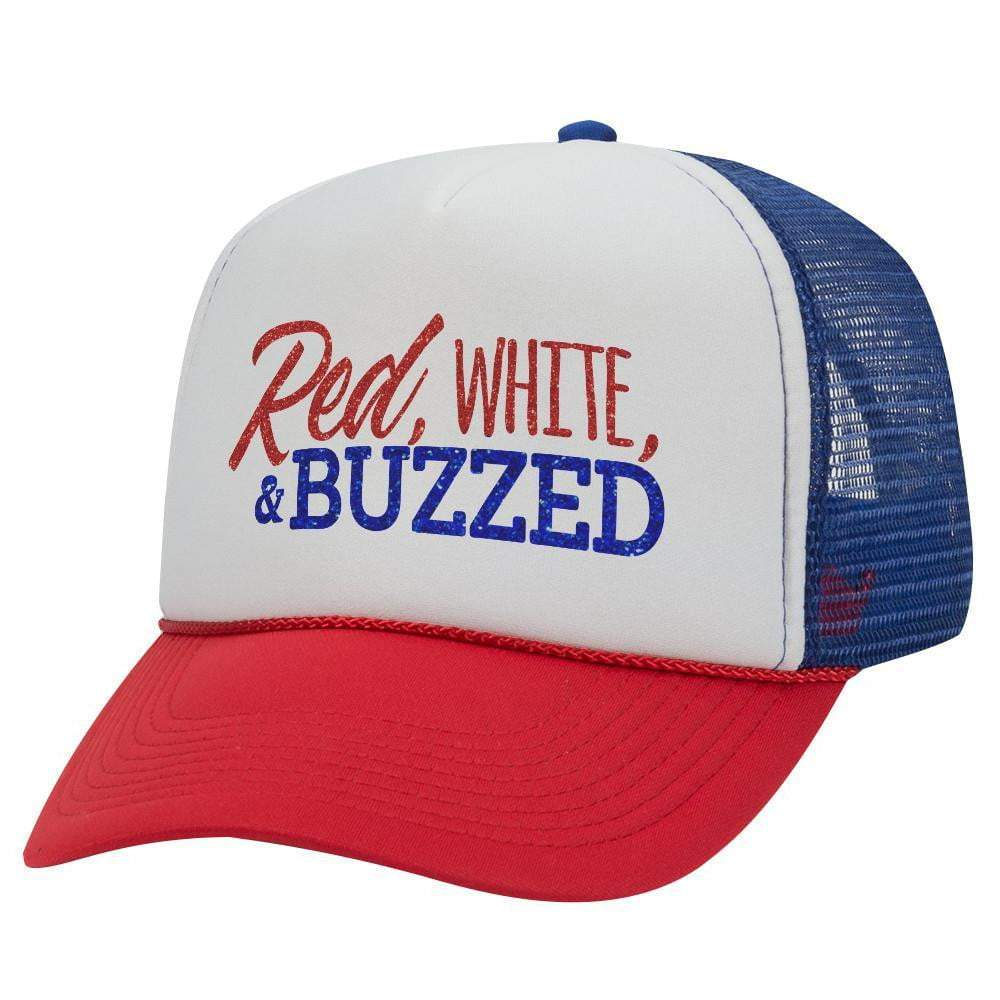 RED WHITE AND BUZZED TRUCKER HAT (Glitter)