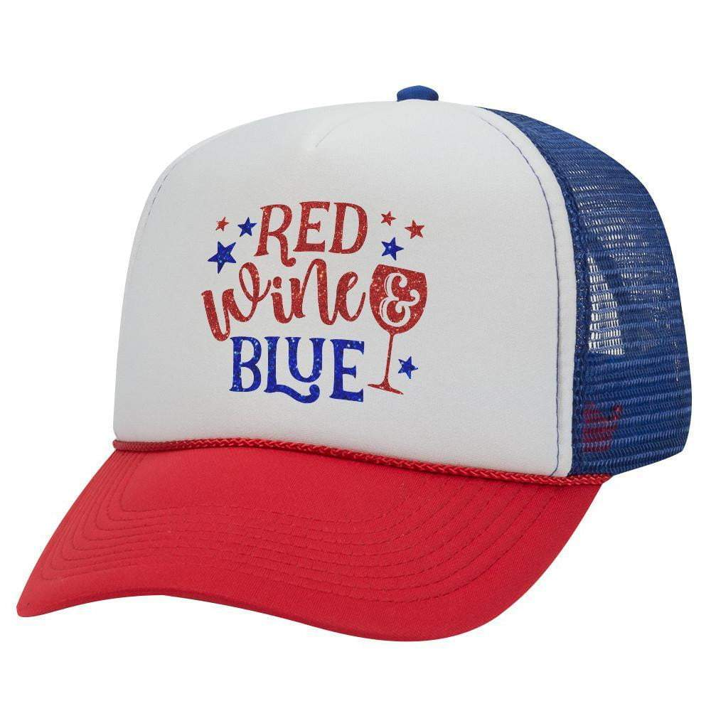 RED WINE AND BLUE TRUCKER HAT (Glitter)