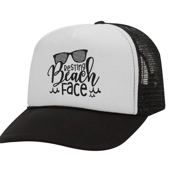 Resting Beach Face BW Trucker Hat